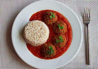 "Lentil ""Meatbals"" With Tomato Sauce And Basmati Rice"